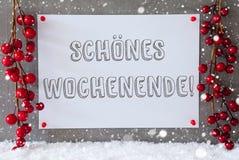 A etiqueta, flocos de neve, decoração do Natal, Schoenes Wochenende significa o fim de semana feliz Imagem de Stock Royalty Free