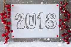 Etiqueta, flocos de neve, decoração do Natal, texto 2018 Fotografia de Stock