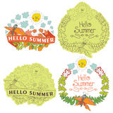Etiqueta floral à moda do vintage com borboletas, abelhas, sol. Soma de Helow Fotografia de Stock Royalty Free