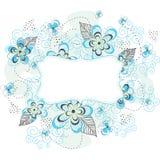 Etiqueta floral azul do fundo Fotos de Stock Royalty Free