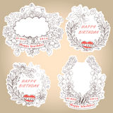 Etiqueta floral del vintage elegante con las mariposas, abejas. Birthd de Hhappy libre illustration