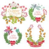 Etiqueta floral del vintage elegante con las mariposas, abejas. Verano de Hellow ilustración del vector