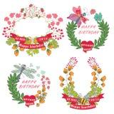 Etiqueta floral do vintage à moda com borboletas, abelhas. verão de Hellow Foto de Stock