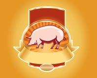 Etiqueta fresca da carne de porco com porco Fotografia de Stock