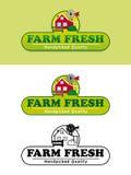 Etiqueta fresca do produto da exploração agrícola com ilustração do vetor da casa da quinta Imagem de Stock Royalty Free