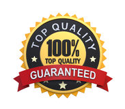 Etiqueta garantida com sinal do emblema do ouro Fotografia de Stock Royalty Free