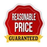 Etiqueta garantizada o etiqueta engomada del precio razonable Fotos de archivo libres de regalías