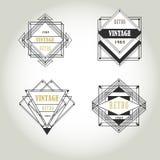 Etiqueta geométrica do vintage do art deco Fotografia de Stock