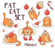 A etiqueta gorda do gato ajustou-se por feriados do Natal e do ano novo Projeto de Minimalistic Estilo dos desenhos animados Ilus Foto de Stock