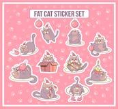 A etiqueta gorda do gato ajustou-se por feriados do Natal e do ano novo Projeto de Minimalistic Estilo dos desenhos animados Ilus Imagens de Stock Royalty Free