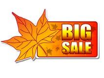 Etiqueta grande do outono da venda com folha ilustração do vetor