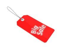 Etiqueta grande vermelha da venda com trajeto de grampeamento Foto de Stock Royalty Free