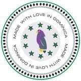 Etiqueta hecha con amor en Dominica stock de ilustración