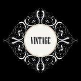etiqueta hermosa del vintage con remolinos Fotografía de archivo