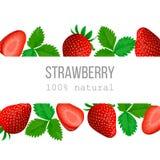 Etiqueta horizontal de la fresa madura con el texto el 100 por ciento de natural Foto de archivo libre de regalías
