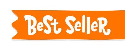 Etiqueta horizontal roja anaranjada de la cinta del texto del superventas Palabra del bestseller Elemento exhausto del diseño de  foto de archivo