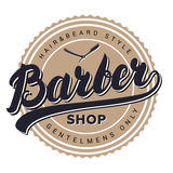 Etiqueta, insignia, emblema o logotipo retro del vintage de la peluquería de caballeros Fotografía de archivo libre de regalías