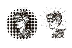 Etiqueta, insignia, impresión de la silueta de la muchacha en estilo retro Fotos de archivo