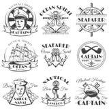 Etiqueta, insignia, o emblema naval del vintage del vector del marinero en estilo monocromático Fotografía de archivo
