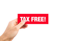 Etiqueta isenta de impostos vermelha do sinal Imagem de Stock