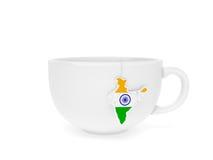 Etiqueta la India del té de la taza Foto de archivo libre de regalías