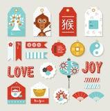Etiqueta linda determinada china de la etiqueta del mono del Año Nuevo 2016