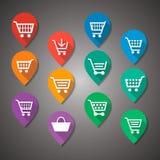 Etiqueta lisa do projeto do carrinho de compras fotografia de stock royalty free