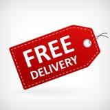 Etiqueta livre de couro vermelha da entrega Fotografia de Stock Royalty Free