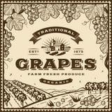 Etiqueta marrón de las uvas del vintage ilustración del vector