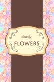 Etiqueta marrom e de creme elegante do cartão da etiqueta com backgr do jardim ilustração royalty free