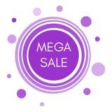 Etiqueta mega da venda com formulários redondos roxos abstratos Fotos de Stock