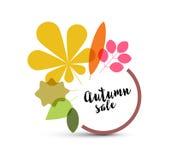 Etiqueta minimalista da venda do outono com folhas Foto de Stock