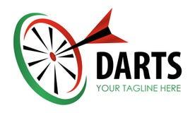 Etiqueta moderna del juego de los dardos del vector Símbolo que se divierte creativo Dardos, diana, cinta para el diseño del ocio stock de ilustración