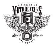 Etiqueta monocromática de la motocicleta del vintage Foto de archivo libre de regalías
