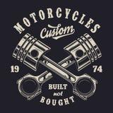 Etiqueta monocromática de la motocicleta del vintage Imágenes de archivo libres de regalías