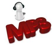Etiqueta Mp3 y empeño con los auriculares Fotos de archivo