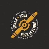 Etiqueta, muestra o Logo Template de Texas Aces Airplane Vector Retro Hélice del vintage con tipografía del círculo y lamentable  Foto de archivo