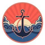 Etiqueta náutica com as ondas da âncora e do mar ilustração do vetor