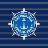 Etiqueta náutica do vintage com fundo sem emenda do teste padrão Ideal para projetos de empacotamento Imagem de Stock Royalty Free