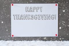 A etiqueta na parede do cimento, flocos de neve, Text a ação de graças feliz Fotografia de Stock