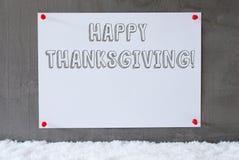 A etiqueta na parede do cimento, neve, Text a ação de graças feliz Imagens de Stock Royalty Free