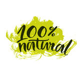 Etiqueta natural com escova escrita à mão Imagens de Stock Royalty Free