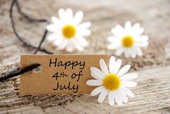 Etiqueta natural com feliz 4o julho Foto de Stock Royalty Free