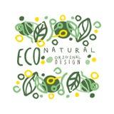 Etiqueta natural de Eco, projeto original do molde gráfico do logotipo Estilo de vida saudável, produtos feitos a mão, mão do men Foto de Stock Royalty Free