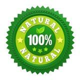 Etiqueta natural de la insignia del 100% aislada Imagenes de archivo