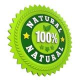 Etiqueta natural de la insignia del 100% aislada Imagen de archivo libre de regalías