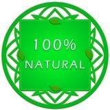 etiqueta natural del 100 por ciento Imagen de archivo libre de regalías