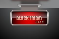 Etiqueta negra de la venta de viernes en bandera roja abstracta con efecto que brilla intensamente ilustración del vector