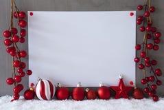 Etiqueta, nieve, bolas de la Navidad, texto hola 2018 Imágenes de archivo libres de regalías