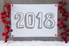 Etiqueta, nieve, decoración de la Navidad, texto 2018 Fotografía de archivo